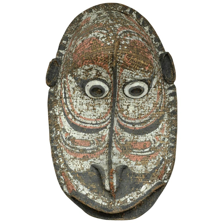 Large Tribal Art Basketry Gable Mask from Papua New Guinea