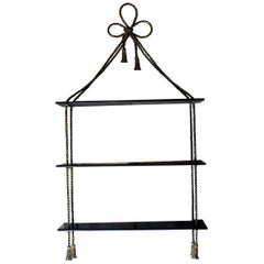 Unusual Mid-20thcentury Ebonized and Gilt-Metal Wall Shelf