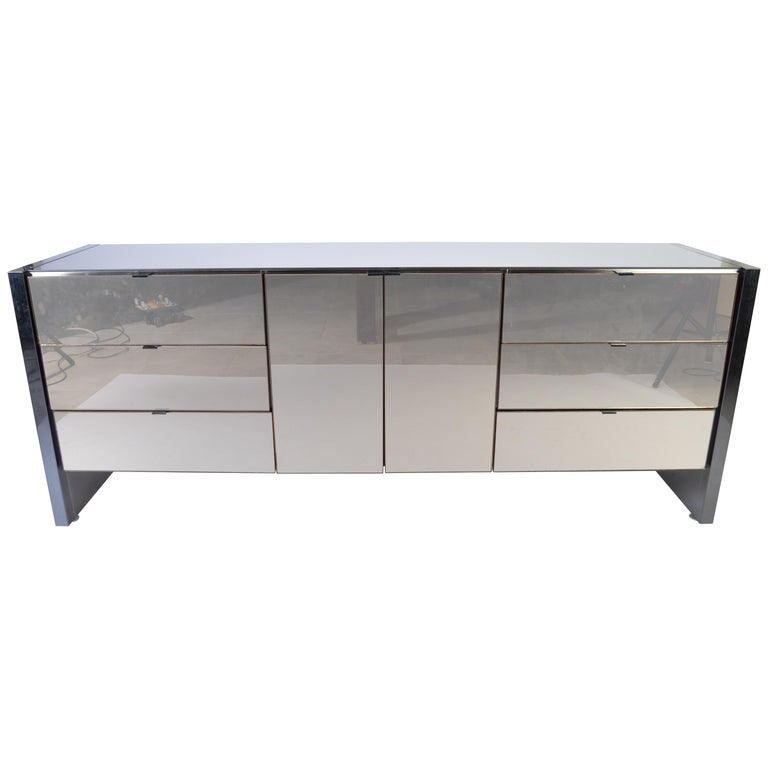 Ello Furniture Smoked Mirror and Chromed Steel Credenza