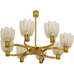 Vintage Hillebrand Chandelier Icicle Glass Shades & Brass, circa 1970s, Germany