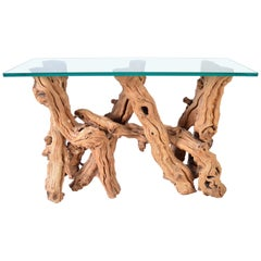 Free-Form Cypress Root Driftwood Glass Top Console Table