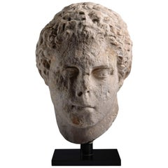 Ancient Greek over Lifesize Hellenistic Marble Head of an Athlete, 300 BC