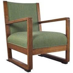 Art Deco Armchair in Solid Oak and Re-Upholstered, 1930s Amsterdam School
