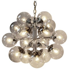 1970s Lightolier 16-Arm Chrome Sputnik Style Chandelier with Glass Shade , Usa