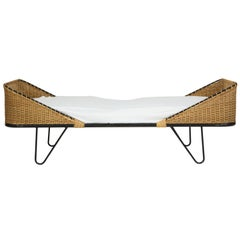 Matégot Style Daybed with Woven and Iron Details, France Midcentury, 1950s