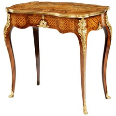 19th Century Walnut and Marquetry Occasional Table Attributed to Holland & Sons