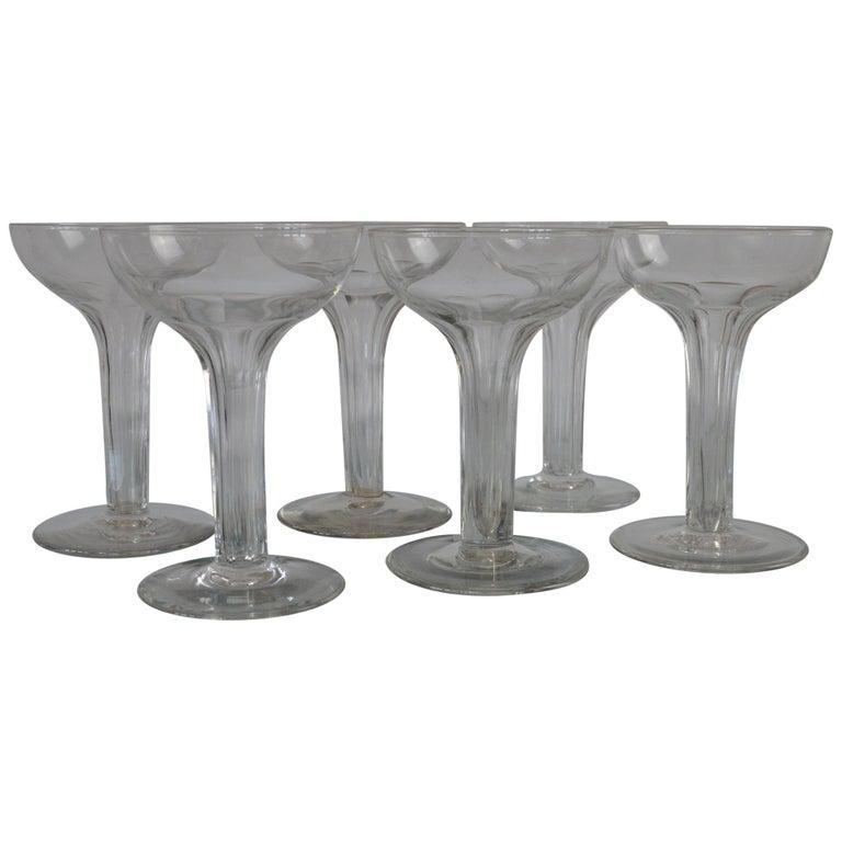 Set of Six Art Deco Hollow Stemmed Champagne Glasses, English, 1920s
