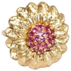 Sunflower Design Ruby 18-Carat Yellow Gold
