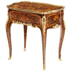 19th Century French Marquetry and Gilt Bronze Table in the Manner of J-F Oeben