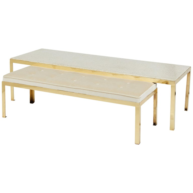 Terrazzo Coffee Table on Brass Frame with Matching Bench For Sale