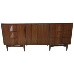 Sculptural Walnut Dresser or Chest in the Style of Henry P. Glass