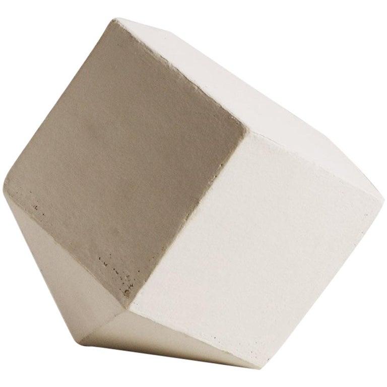 'J8' Geometric Ceramic Sculpture with White Finish