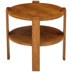 Midcentury Round Two-Tier French Side or End Table, Oak, 1950s