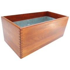 Teak Rolling Planter Box with Zinc Liner