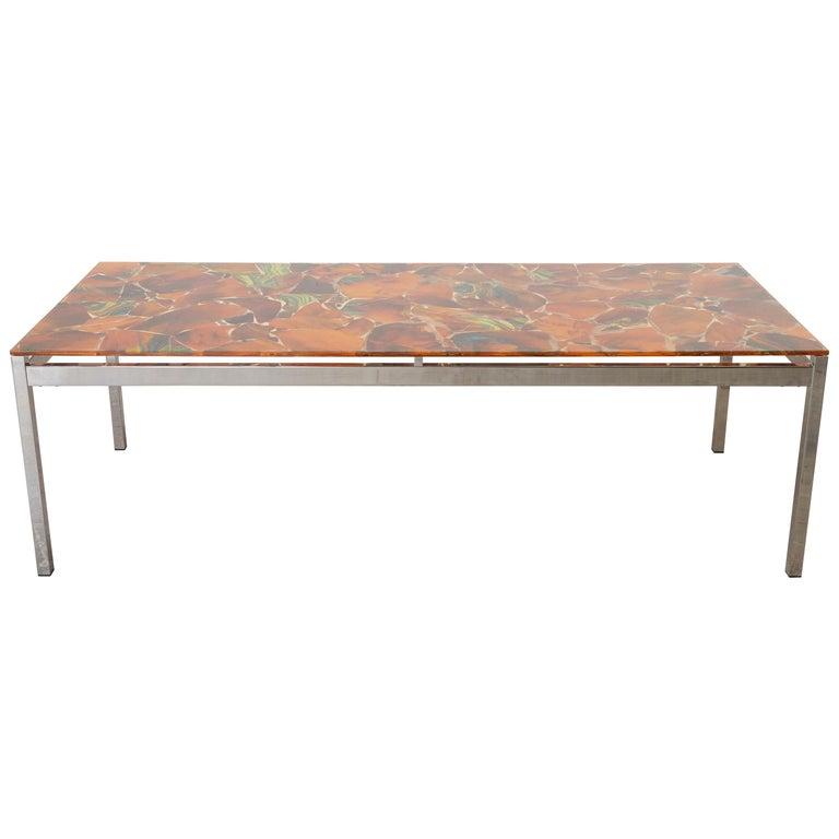 Mosaic Modernist Rectangular Inlay Orange Glass Top Coffee Table, 1970s