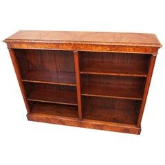 Antique 19th Century Burr Walnut Dwarf Open Bookcase