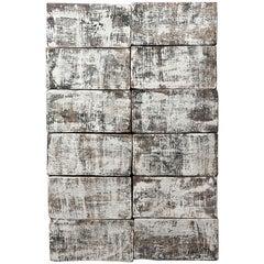 'Hexagram 2' Ceramic Wall Hanging in Textured Black and White Finish