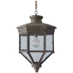 Large 19th Century Copper Hanging Lantern of Unusual Hexagonal Design