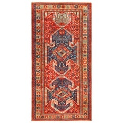 Tribal Gallery Size Runner Antique Caucasian Kazak Rug