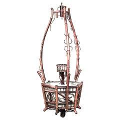 English Victorian Bamboo Hanging Fernery/Planter
