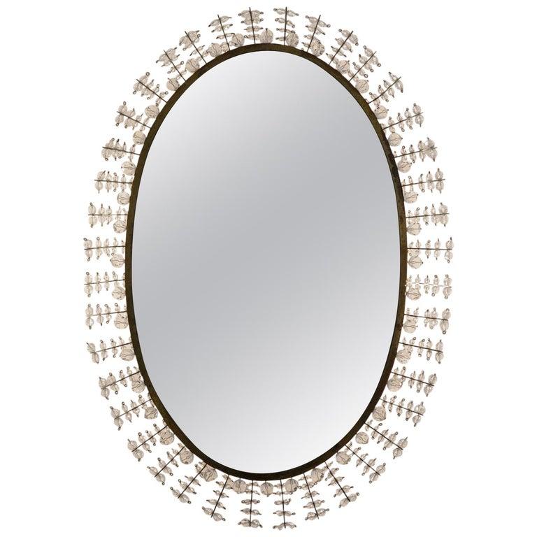 Midcentury Luminous Oval Mirror