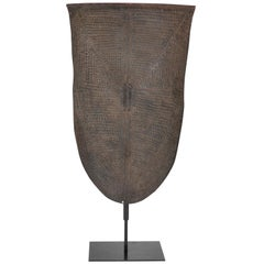 Embosed Metal Kirdi Shield from Cameroon on Bronze Stand