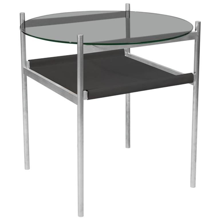 Duotone Circular Side Table, Aluminium Frame / Smoked Glass / Black Leather For Sale