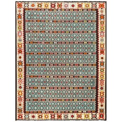Fine Light Blue Tribal Antique Turkish Kilim Rug