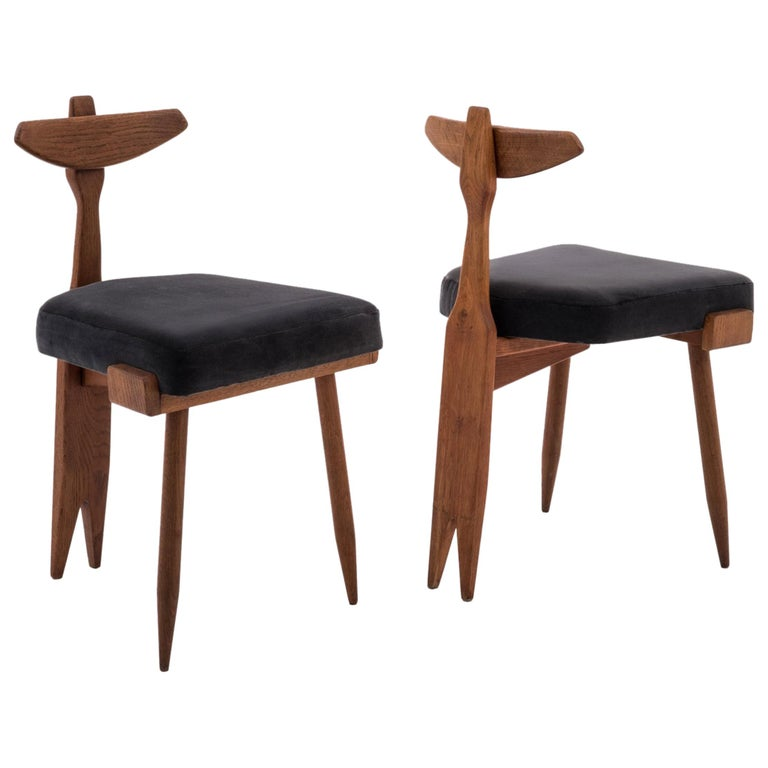 Oak and Velvet Mid-Century Modern Side Chairs by Guillerme et Chambron, 1950s