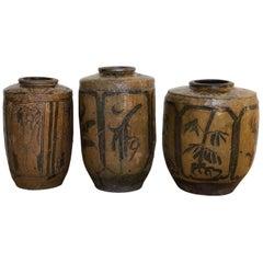 Set of Three Ceramic Chinese Pickle Jars