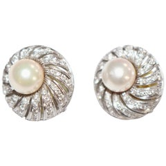 Pair of Round Cluster Head Pearl and Diamond 18-Carat White Gold Earrings