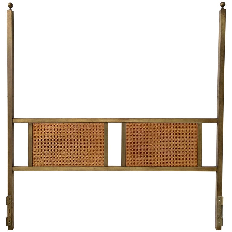 King-Size Bronze Two Poster Headboard with Caned Panels For Sale