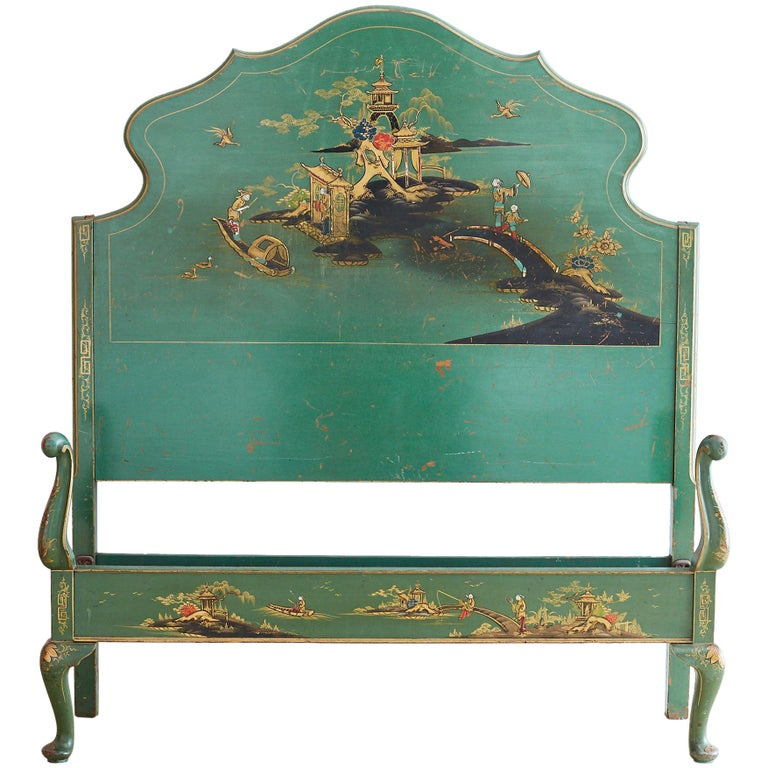 Pagoda Headboard Vintage Full Queen Ornate Spanish Spindle Wood Chinoiserie For Sale At 1stdibs