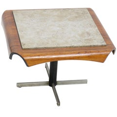 Midcentury Side Table in Jacaranda and Marble by Jorge Zalszupin for L'atelier