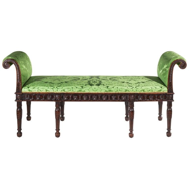 English 19th Century Robert Adam Neoclassical Window Seat or Bedroom Bench