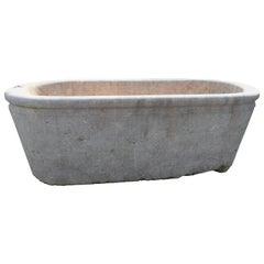 19th Century Solid Marble Bathtub in Rojo Alicante