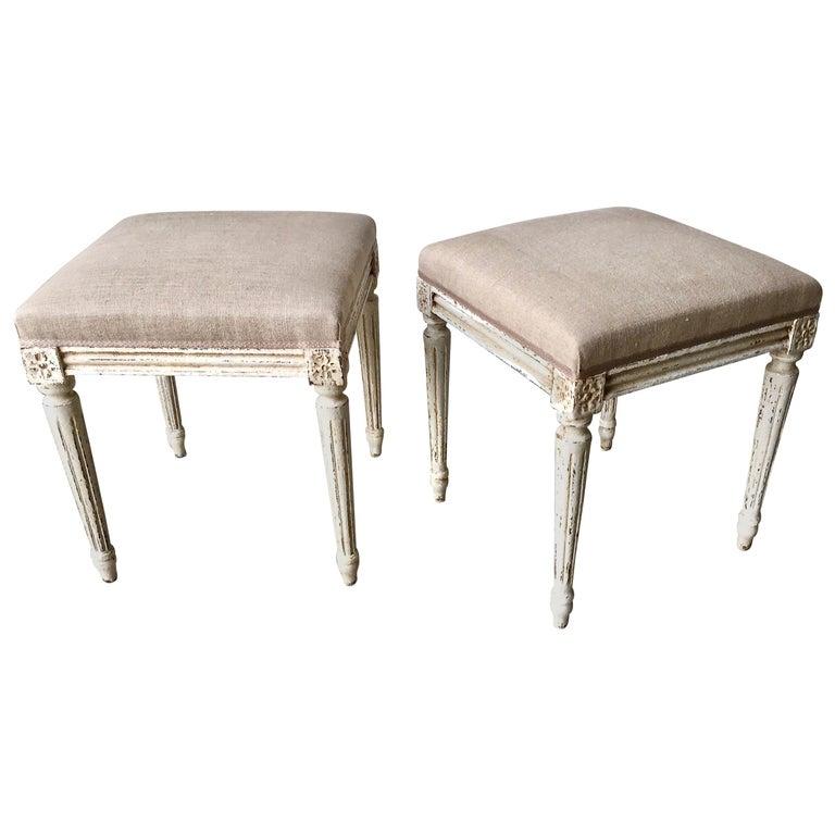 Pair of Louis XVI Style Painted Footstool