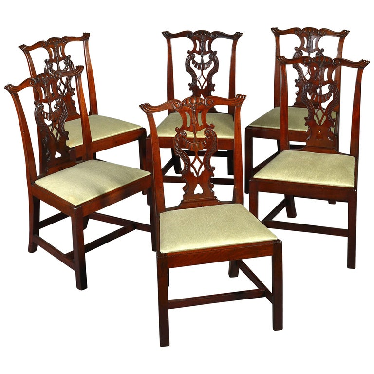 Set of Six Chippendale Period Side or Dining Chairs