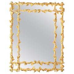 Carved Wood Wall Mirror Frame of Faux Bamboo