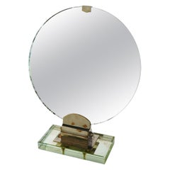 Rare Art Deco Period Small Orientable Table Mirror Attributed to Jacques Adnet