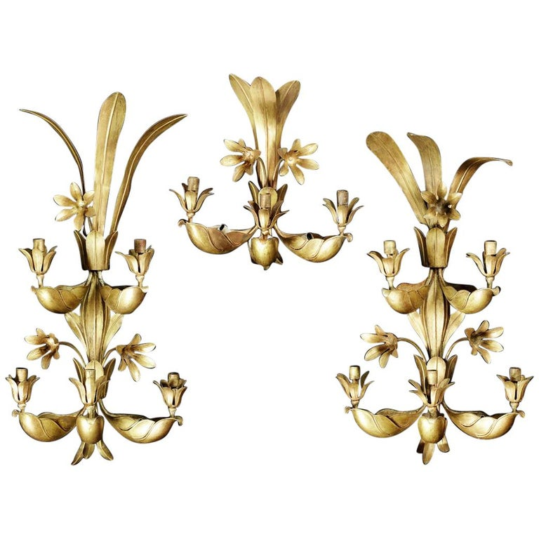 Set of Three 1950s, French Gilt Metal Wall Lights Attributed to Maison Baguès