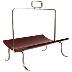 Aldo Tura Magazine Rack in Red Goatskin with Nickel-Plated Hardware