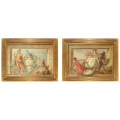 Pair of Large 19th Century Oil on Canvas Painted and Framed Overdoors