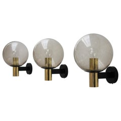 4 Glass Ball Wall Lamps Smoked Glass, 1960s