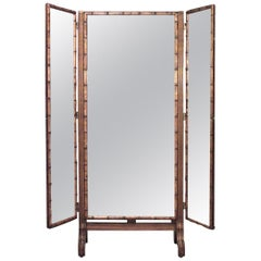 French Victorian Faux Bamboo Triptych Cheval Mirror