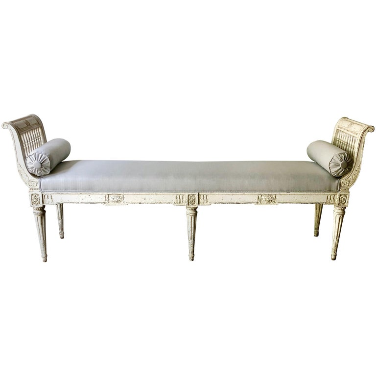 Long 19th Century, French Louis XVI Style Banquette with Armrests