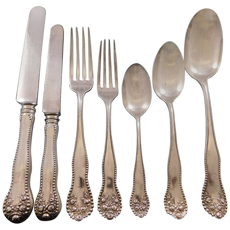 Lancaster Rose by Gorham Sterling Silver Flatware Set 12 Service 102 Pcs Dinner For Sale