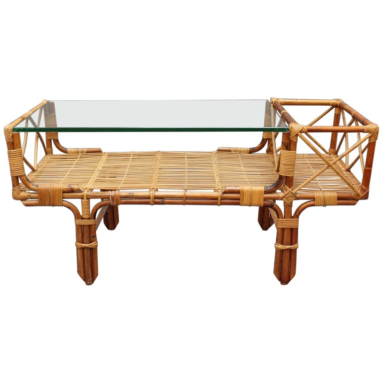 Italian Bamboo and Rattan Coffee Table with Glass Top, circa 1960s