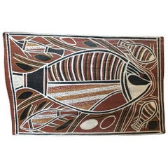 David Malangi Aborigine Painting on Bark, circa 1980