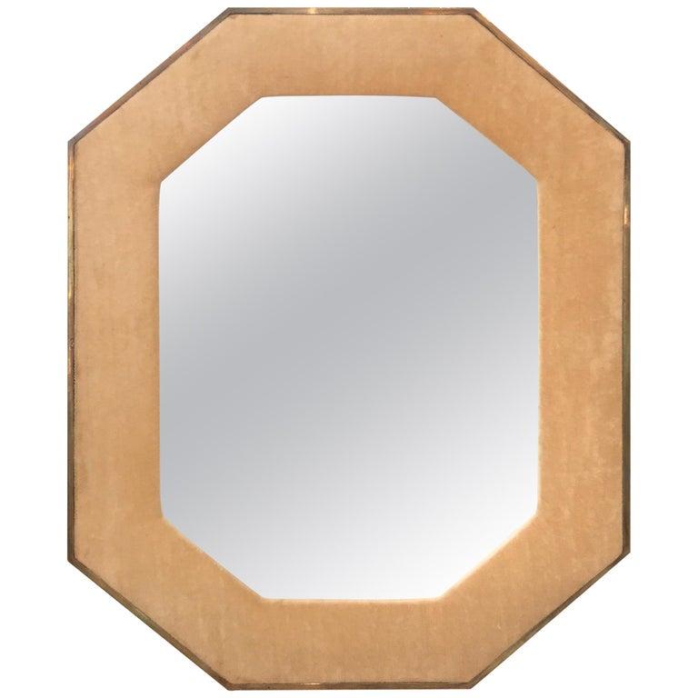 Brass Framed Upholstered Octagonal Mirror by John Widdicomb For Sale